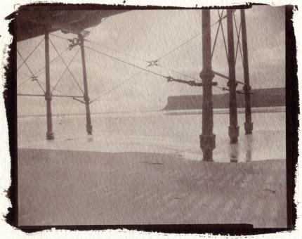 Saltburn Pier study1, MPP 5X4 Technical camera Kodak Eastman Single element Lens
